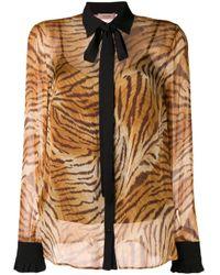 Twin Set Brown Sheer Tiger Print Shirt