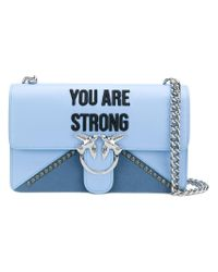 Pinko Blue You Are Strong Shoulder Bag