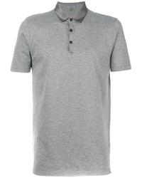 Lanvin Gray Silky Collar Polo Shirt for men