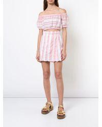 Mini-jupe à rayures Lemlem en coloris Pink