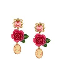 Dolce & Gabbana Multicolor Cameo Crystal Rose Drop Earrings