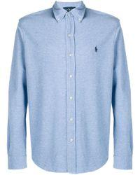 Camisa con logo bordado Ralph Lauren de hombre de color Blue