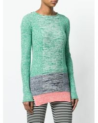 Ports 1961 Green Color Blocked Sweater