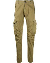 C P Company Green Multi-pocket Crinkled Effect Trousers for men