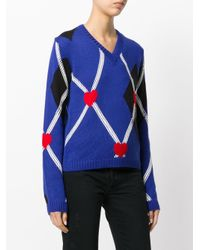 MSGM Blue Argyle Heart Fitted Sweater