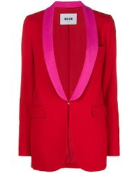 MSGM Red Classic Single-breasted Blazer