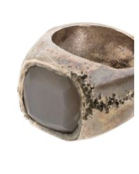 Tobias Wistisen Metallic Moon Stone Embellished Ring