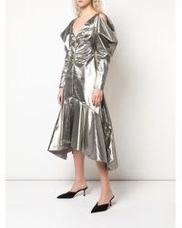Robe mi-longue à épaules structurées Rejina Pyo en coloris Metallic