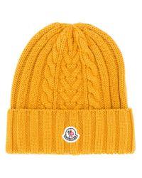Moncler ロゴパッチ ビーニー Yellow