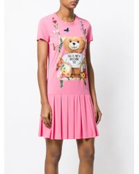 Moschino Pink Teddy Bear Pleated T-shirt Dress