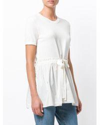 Moncler White Drawstring Waist T-shirt