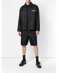 Prada Black Logo Patch Shirt Jacket for men