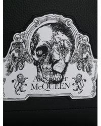 Alexander McQueen Black Skull Patch Drawstring Backpack for men
