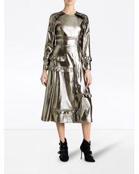 Burberry - Metallic Ruffle-trimmed Lamé Dress - Lyst