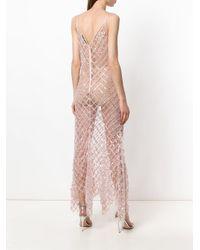Amen - Pink Sheer Flared Maxi Dress - Lyst