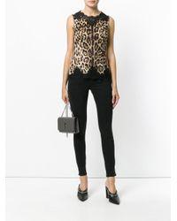 Dolce & Gabbana Brown Lace Trim Leopard Print Vest
