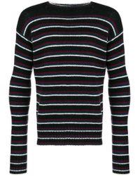 Prada Black Striped Knit Shetland Sweater for men
