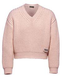 メンズ Prada チャンキーニット セーター Pink