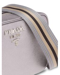 Prada Metallic Logo Zipped Shoulder Bag