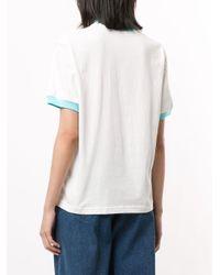 Sunnei White Embroidered Logo Two-tone T-shirt