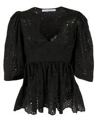 Vivetta Black Embroidered 3/4 Sleeves Blouse
