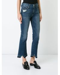 FRAME Blue Cropped Flared Jeans