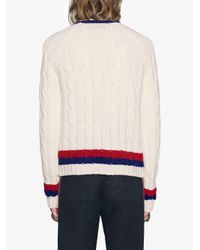 Gucci White Wool Cable-knit Sweater With Crest for men