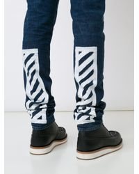 Off-White c/o Virgil Abloh - Blue Striped Leg Jeans for Men - Lyst
