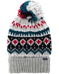 Woolrich - Gray Intarsia Bobble Hat for Men - Lyst
