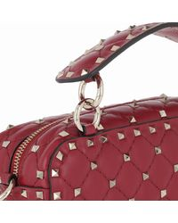Valentino Red Rockstud Spike Camera Bag Rosso