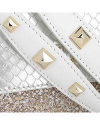 Patrizia Pepe Metallic Mini Clutch Glossy Silver Glitter