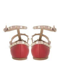 Valentino Pink Rockstud Rolling Ballerina Rosso/poudre
