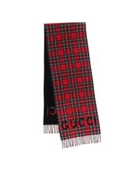 Gucci Tartan Wool Scarf Black/red