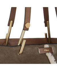 Chloé - Brown Keri Shopper Medium Velour Shearling Mahogany - Lyst
