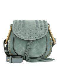 Chloé Hudson Mini Crossbody Bag Suede Cloudy Blue