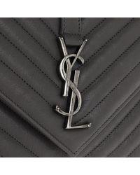 Saint Laurent - Gray College Shoulder Bag Leather Asphalt - Lyst