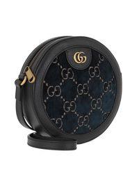 Gucci GG Round Shoulder Bag Velvet Black/blue