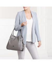 Polished Leather Edie 31 Shoulder Bag Heather Grey COACH en coloris Gray