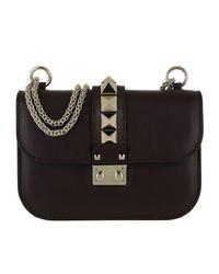 Valentino Brown Rockstud Small Leather Shoulder Bag Deep Rubin