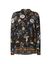 Seventy Black Bluse aus Krepp mit Mustermix