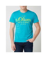 s.Oliver RED LABEL T-Shirt aus Baumwolle in Blue für Herren
