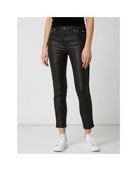 The Kooples Black Slim Fit Coated Jeans mit Galonstreifen
