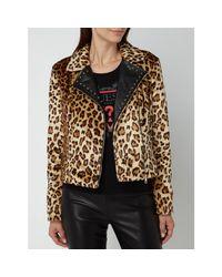 Liu Jo Black Jacke aus Webpelz mit Leopardenmuster