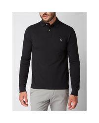 Polo Ralph Lauren Slim Fit Poloshirt mit langen Ärmeln in Black für Herren