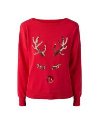 ONLY Red Weihnachtsstrick Pullover