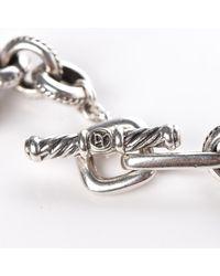 David Yurman Metallic Sterling Silver 18k Yellow Gold Garnet Carnelian Pearl Moonstone Cable Charms Necklace