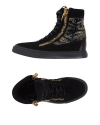 Giuseppe Zanotti - Black Embellished Suede High-Top Sneakers for Men - Lyst