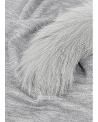 Max Mara Gray Grey Fur Pompom Jersey Scarf