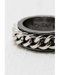 Cheap Monday Metallic Cuff Ring in Silver for men