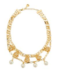 Tory Burch White Golden Cara Short Flower Necklace